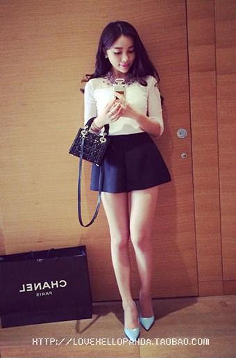 กางเกงขาบานสั้นสีดำน่ารัก