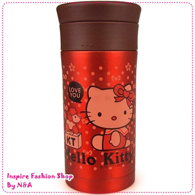 กระบอกเก็บความร้อน/เย็น Hello Kitty สีแดง New Year berserk Hello Kitty vacuum cup stainless steel thermos Double Stainless Steel Vacuum Flask