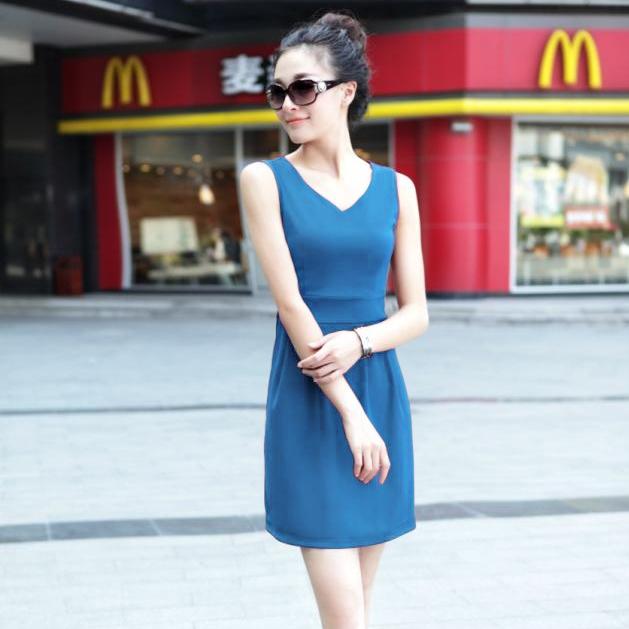 [Preorder] เดรสทำงานแฟชั่นแขนกุดคอวีเอวเข้ารูป สีน้ำเงิน 2013 spring and summer new Hot V-neck Slim large size multi-color package hip bottoming Dress