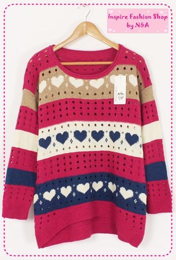 [Preorder] เสื้อกันหนาวแฟชั่นแขนยาวลายหัวใจหลากสี สีชมพู Hitz sweater Women colored stripes printing love the hollow round neck fashion sweaters