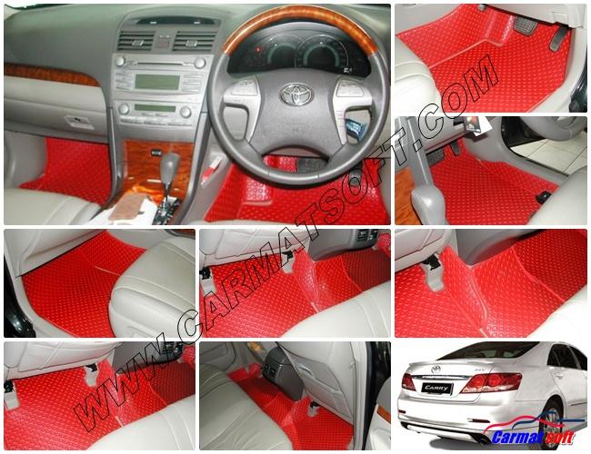 พรมปูพื้นรถยนต์ CAMRY 07-11 ลายกระดุม สีแดง 14 ชิ้น เต็มคัน พื้นเรียบ+กันสึก