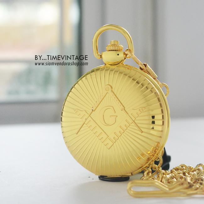 นาฬิกาพรีเมียมที่ระลึก ระบบถ่านควอทซ์ ลายวินเทจSuper G สีทองเงาขนาดไซต์พิเศษ