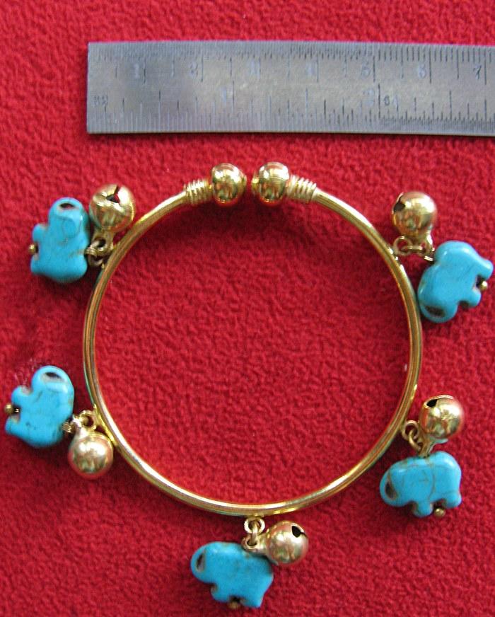 กำไลข้อมือทองเหลืองจี้รูปช้างหินเทอร์ควอยส์(โชคดี)ค่ะ
