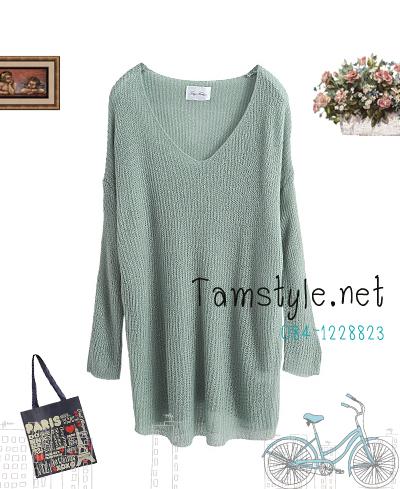 **หมดค่ะTop011-เสื้อแฟชั่นแขนยาว สีฟ้า เสื้อถัก เตรียมพร้อมรับลมหนาว ((เสื้อแฟชั่นพร้อมส่ง))