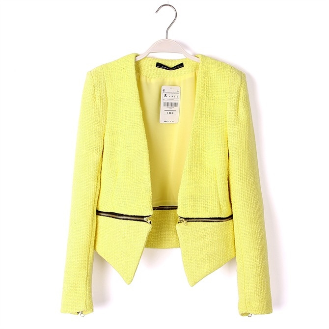 [Preorder] เสื้อสูทแฟชั่นแขนยาวสไตล์ยุโรป สีเหลือง (ไซส์ S M L) Zara spring 2014 with female models in Europe and America style punk zipper suit wearing a suit jacket handsome two ladies