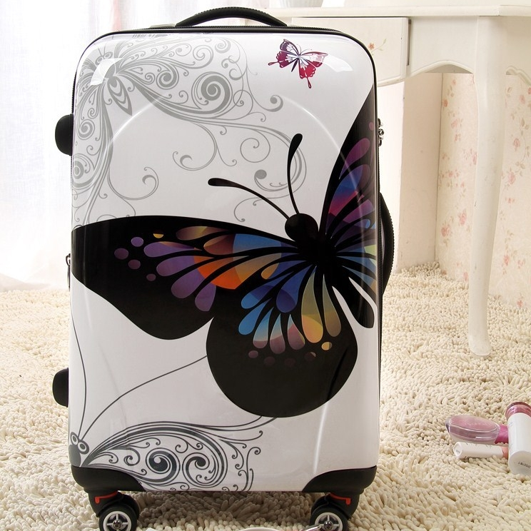 [Preorder] กระเป๋าล้อลากลายผีเสื้อ สีขาว ขนาด 20 นิ้ว Authentic Korean butterfly trolley case ABS + PC travel luggage board chassis