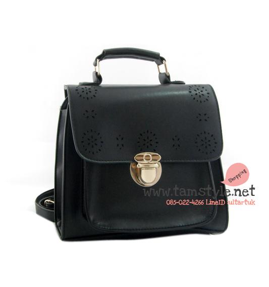 Bag-TB-5691กระเป๋าหนังPVC แข็งอยู่ทรงแต่งลายฉลุ ถือ+สะพาย+เป้ ใบเดียวครบ(กระเป๋าแฟชั่นราคาถูกพร้อมส่ง)