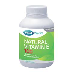 Mega we care Natural Vitamin E 100iu - อาหารเสริมเมก้า วีแคร์ วิตามินอีธรรมชาติ 100ไอยู # 100 เม็ด สำเนา