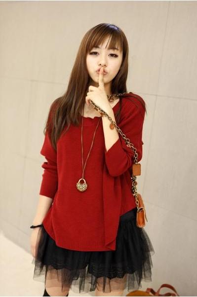 เดรสแฟชั่น2ชิ้นเสื้อตัวนอกแขนยาวสีแดงสด+เสื้อสายเดี่ยวสีดำแต่งระบาย3ชั้นด้วยผ้าตาข่าย