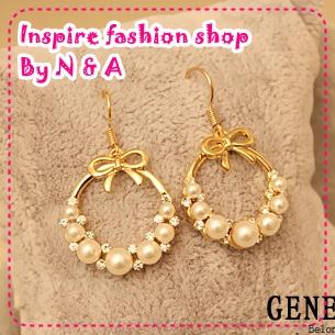 ตุ้มหูวงกลมไข่มุกประดับโบว์ Love the ornaments discipline B51 nice pearl bow earrings Korea Korea Europe and the United States retro earrings female jewelry
