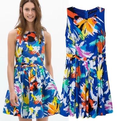 [Preorder] เดรสแฟชั่นแขนกุด แบรนด์ ZARA สกรีนลายเก๋ๆ สีน้ำเงิน (ไซส์ S M L) 2014 summer new European style ZARA MICN Women graffiti print pleated sleeveless dress vest dress