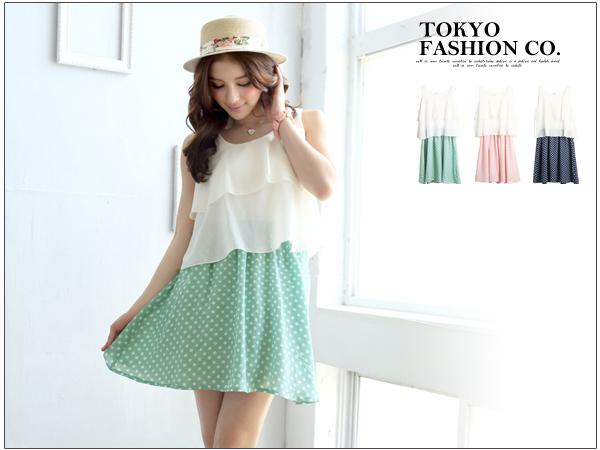Tokyo Fashion ชุดเดรสแขนกุดเสื้อระบาย2ชั้น ตัดต่อกระโปรงด้วยผ้าลายจุดสีกรมค่ะ