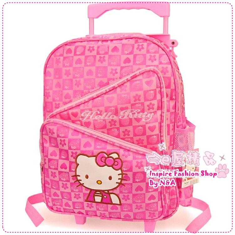กระเป๋าล้อลาก Hello Kitty สีชมพู Hello Kitty trolley bags / Hello Kitty three-tier school bags / kitty schoolbags / schoolbags