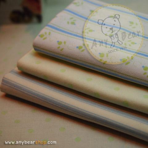 เซตผ้าฝ้ายโทนสีเขียวอ่อน-ฟ้า (1/8 หลา ) 3 ชิ้น