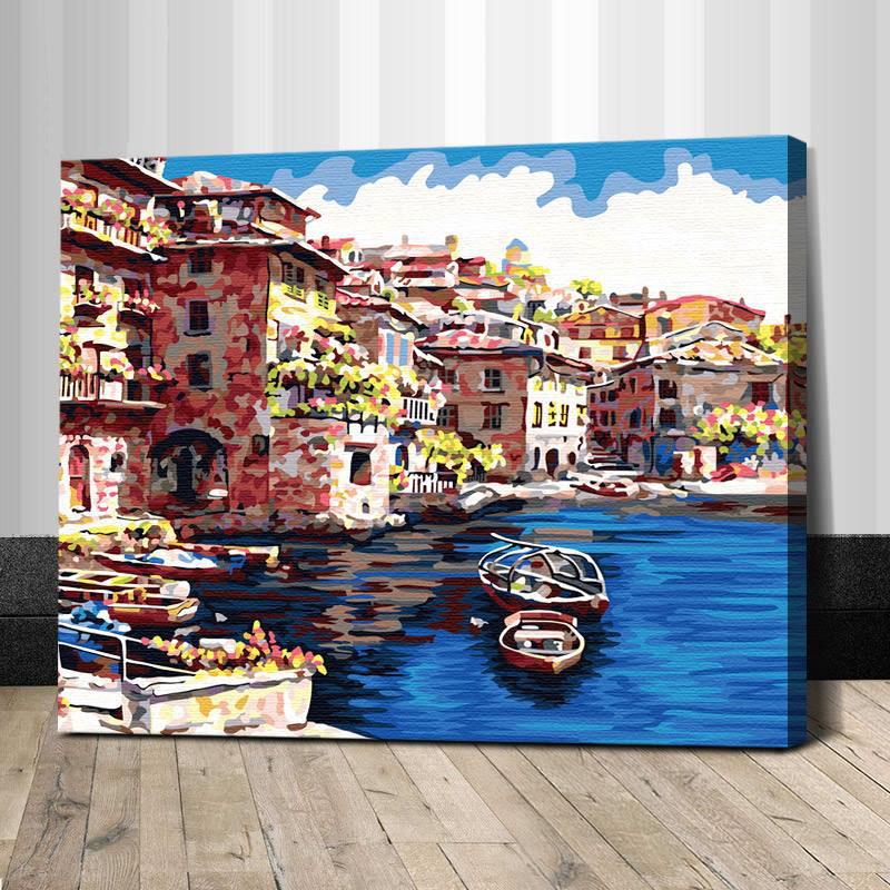 """TG140 ภาพระบายสีตามตัวเลข """"เรือในทะเลสาบหมู่บ้าน"""""""