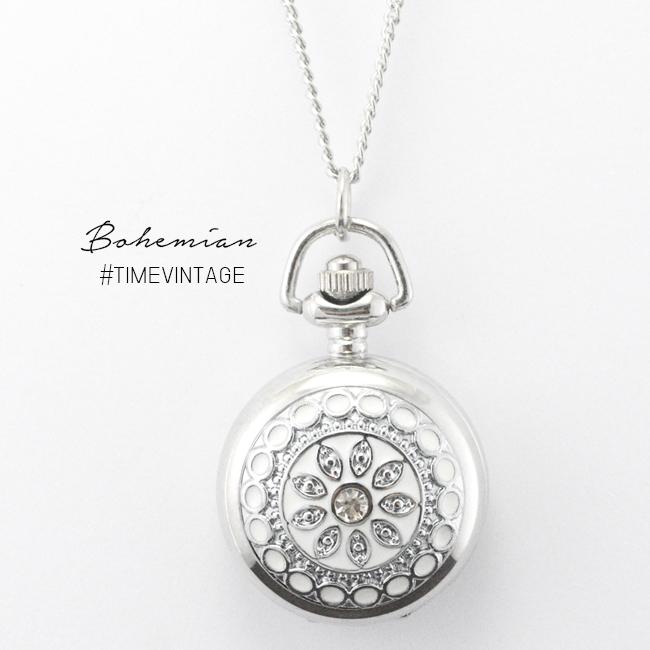สร้อยคอนาฬิกาฝาทึบคริสตัลลายโบฮีเมียน White Crystal
