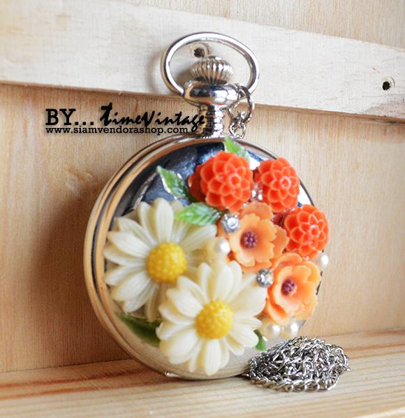 นาฬิกาประดับคริสตัลดอกไม้ 3 มิติ ระบบถ่านควอทซ์