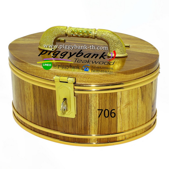 กระปุกออมสิน รูปวงรี สายยูคาดทอง - รหัส 706 - ขนาด 7 นิ้ว
