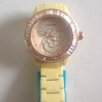 นาฬิกาข้อมือ Chanel J12 Flower Limited Edition 2013 คริสตัล เหลือง