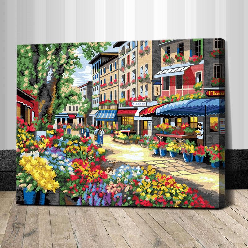 """TG299 ภาพระบายสีตามตัวเลข """"ตลาดดอกไม้กลางเมือง"""""""