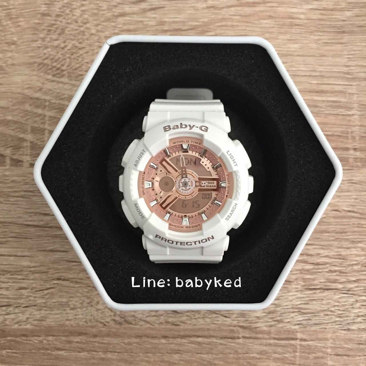 Baby-G BA-110-7 สีขาวพิงค์โกล ของแท้100% ของใหม่อุปกรณ์ครบ 3,900 บาท