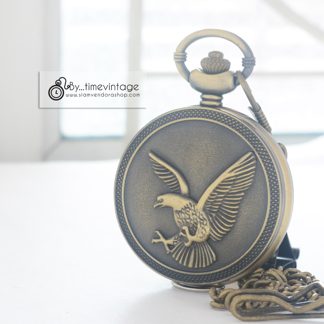 นาฬิกามงคลระบบถ่านควอทซ์ญี่ปุ่นสไตล์วินเทจลายพญานกอินทรีย์
