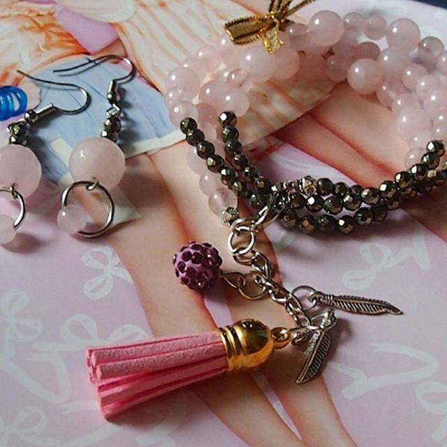 Rose Quartz Wrap Bracelet & Earing Set