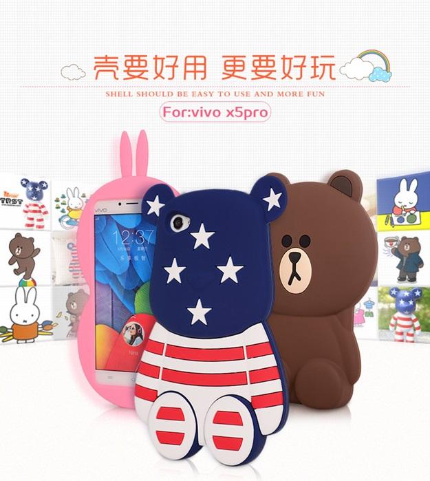 (013-014)เคสมือถือวีโว Vivo X5 Pro เคสนิ่มตัวการ์ตูนกระต่ายและหมี 3D