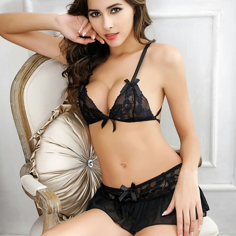 3in1 Sexy Black Lace Bra N Skirt ชุดนอนบิกินี่ซีทรูลูกไม้สีดำสุดเซ็กซี่พร้อมกระโปรงระบายแสนสวย
