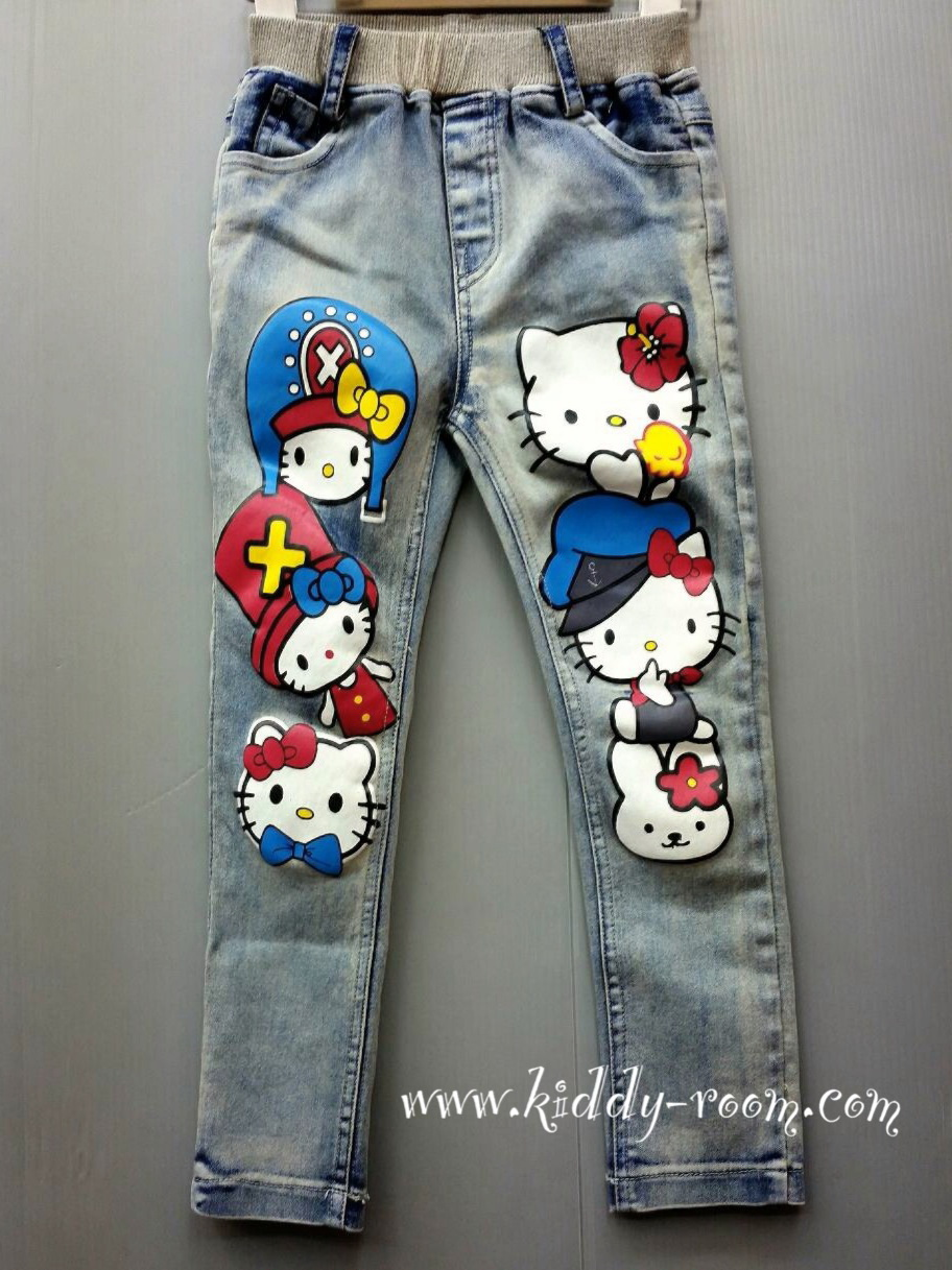 กางเกงยีนส์ขาวยาว ทรงเดฟ แต่งลายคิตตี้ Kitty เก๋ๆ ช่วงขา ผ้ายืดนิดๆ เนื้อดีค่ะ size 100-140