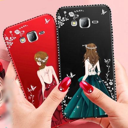 (587-015)เคสมือถือซัมซุง Case Samsung J5 เคสนิ่มแฟชั่นลายผู้หญิงขอบเพชร