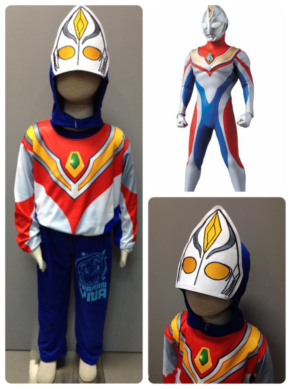 Ultraman Dyna (งานลิขสิทธิ์) ชุดแฟนซีเด็กอุลตร้าแมน ไดน่า 3 ชิ้น เสื้อ กางเกง & หน้ากาก ให้คุณหนูๆ ได้ใส่ตามจิตนาการ ผ้ามัน Polyester ใส่สบายค่ะ หรือจะใส่เป็นชุดนอนก็ได้ค่ะ ++แถม VCD การ์ตูน ++ size S, M, L, XL