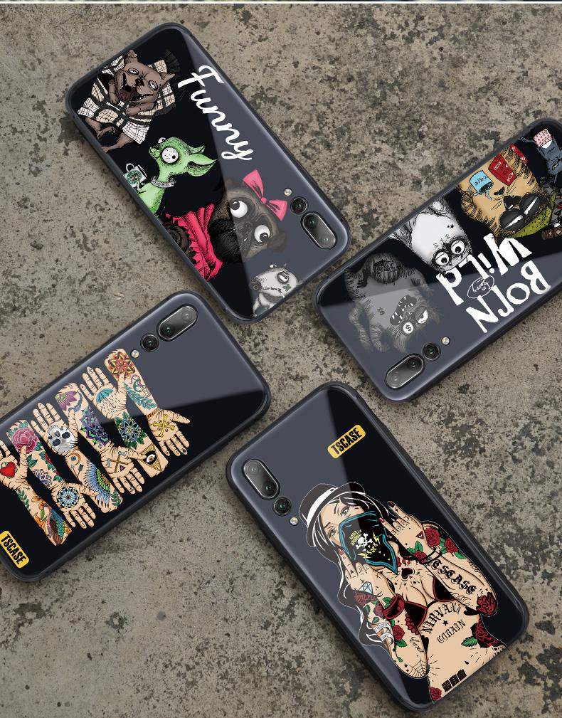 (736-001)เคสโทรศัพท์มือถือหัวเว่ย Case Huawei P20 Pro เคสพื้นหลังกระจกนิรภัยลายแนวพั้งค์