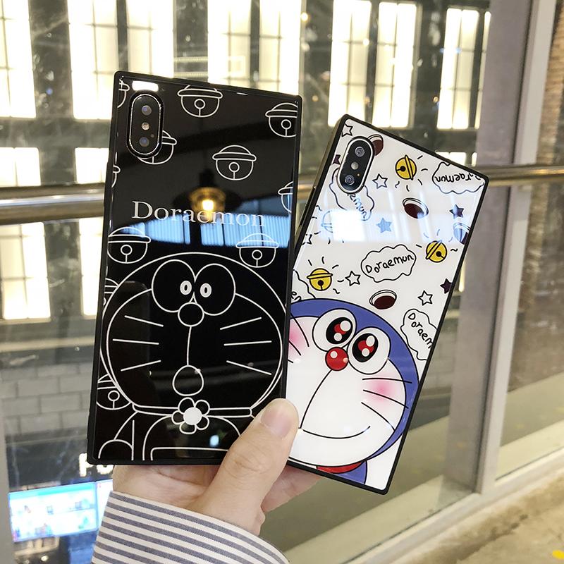 (633-011)เคสมือถือไอโฟน Case iPhone7/iPhone8 เคสนิ่มพื้นหลังกระจกลายโดเรมอน