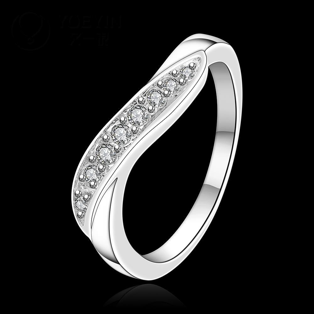 R893 แหวนเพชรCZ ตัวเรือนเคลือบเงิน 925 หัวแหวนเพชรแถว ขนาดแหวนเบอร์ 7-8