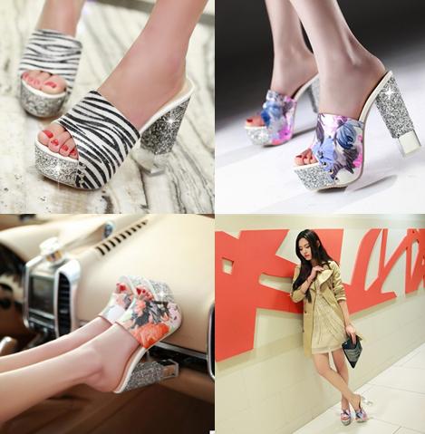 รองเท้าส้นสูง ไซต์ 34-40 สีขาว/ส้ม/ฟ้า