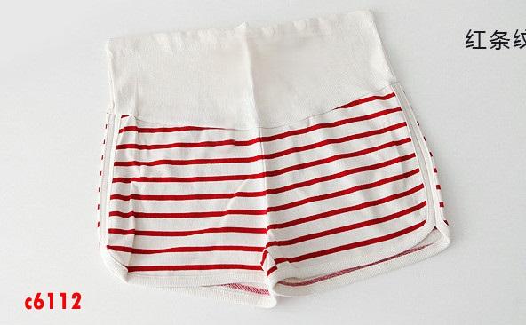 c6112 กางเกงคนท้องลายขวางสีแดง ขาว ปรับเอวได้ค่ะ มีซัพพลอตท้อง