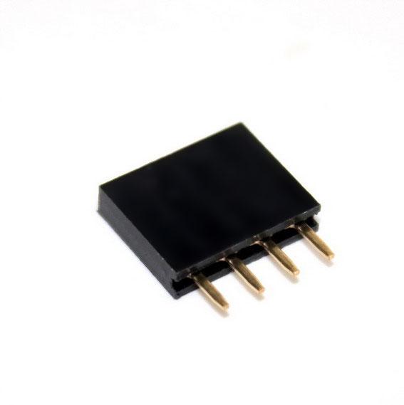 1x4 pin 2.54mm PCB Female Header Single Row Straight Copper Pin จำนวน 1 ชิ้น