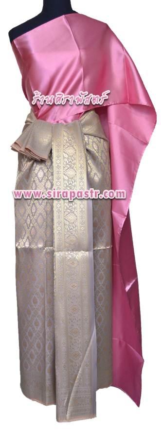 ชุดผ้าไทย BB สีเทา-ชมพู (สไบ+ผ้าฯยาว 4 หลา*แบบจับสด) รายละเอียดในหน้าสินค้า