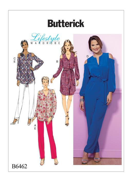 แพทเทิร์นตัดจั๊มสูท เสื้อ กางเกง Butterick 6462 Size: 6-8-10-12-14 (อก 30.5 - 36 นิ้ว)