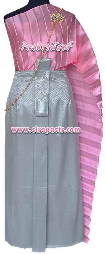 ชุดไทย A4 (สไบฯ+ผ้าถุงฯแบบสำเร็จรูป เอวใส่ได้ถึง 30 นิ้ว) *รายละเอียดในหน้าสินค้า