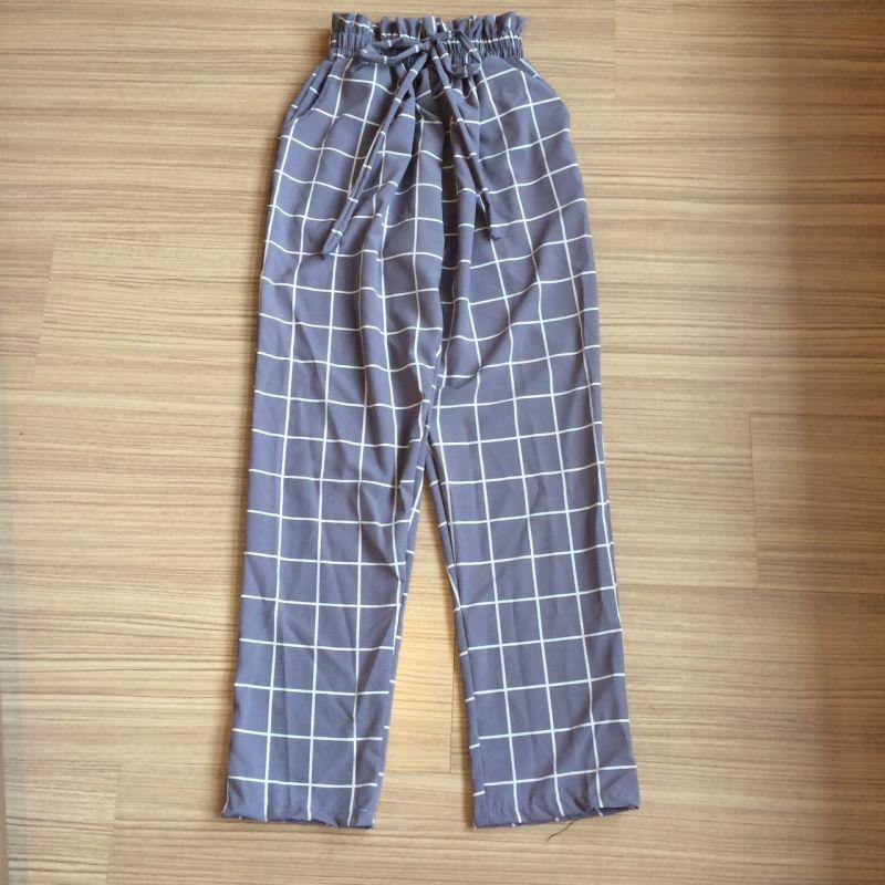 กางเกงลายตาราง ผ้าไหมอิตาลี่จ้า