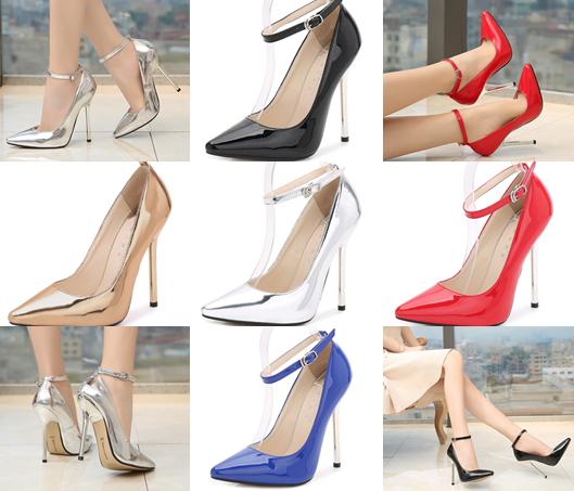 รองเท้าส้นสูงปลายแหลม 5.2 นิ้ว สีดำ/แดง/เงิน/ทอง/น้ำเงิน ไซต์ 35-43