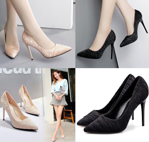 รองเท้าส้นสูงปลายแหลมผ้าย่นสีโอรส/ดำ ไซต์ 35-39