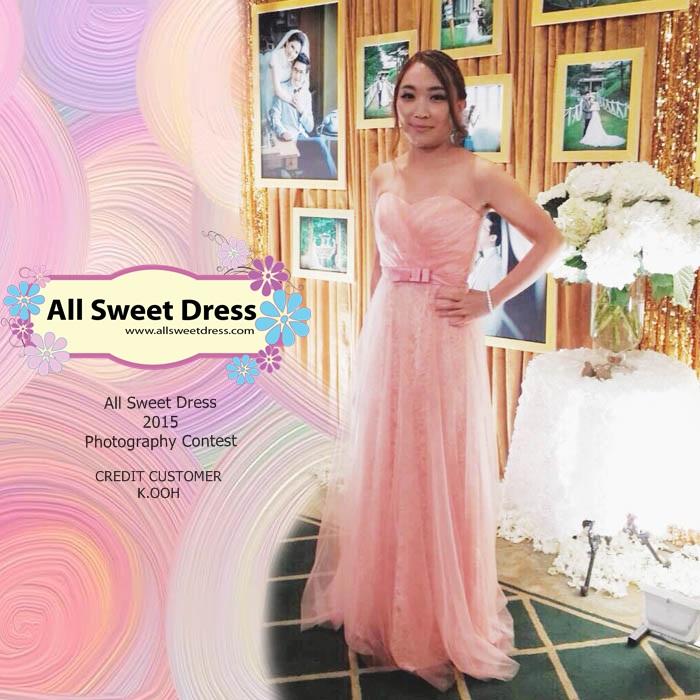 ภาพน้องโอ๋จากมหาชัยที่มาใช้บริการเช่าชุดราตรียาวเกาะอกลูกไม้สีชมพูทั้งตัวซีทรูซ้อนชั้นนอกให้อารมณ์ชวนฝันของร้านเช่าชุดราตรี All Sweet Dress ไปงานแต่งงานแล้วรีวิวส่งมาให้ชมกันค่ะ