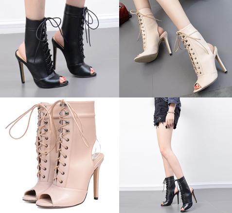 รองเท้าส้นสูงสีดำ/ครีม ไซต์ 35-40