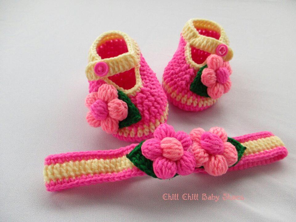 เซ็ทรองเท้าและผ้าคาดผมติดดอกไม้ 1-3 เดือน *ส่งฟรี EMS