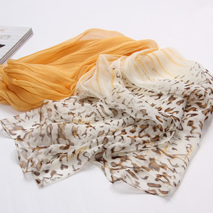 ผ้าพันคอผ้าPolyester+ผ้าไหม แฟนตาซีเสือดาวสีเบจ ( รหัส P82 )