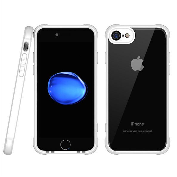 เคสไอโฟนรุ่นปกป้องกล้อง Premium (ขอบยาง หลังพลาสติกแข็ง ป้องกันเคสเหลือง) Iphone 7 (ขอบขาว หลังใส)