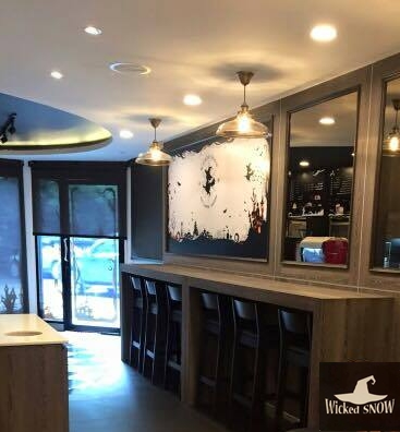 เก้าอี้บาร์ สีโอ๊ค ดีไซน์สวย สำหรับร้านกาแฟ ร้านเบเกอรี่